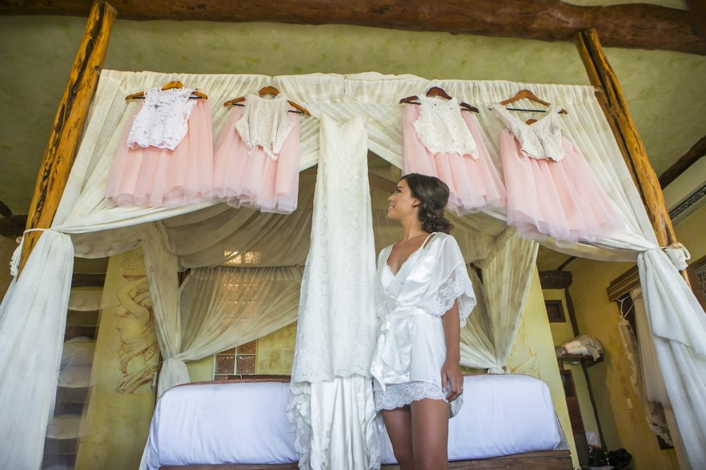 Akiin Beach Club Tulum Jot Amy Getting Ready 4 1024x683 - How To Fly With A Wedding Dress To Your Destination Wedding